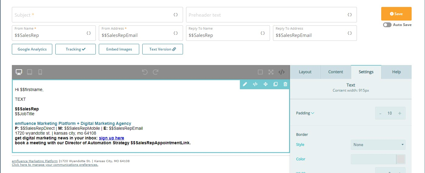 b2b email marketing platform screen shot of signature block email builder