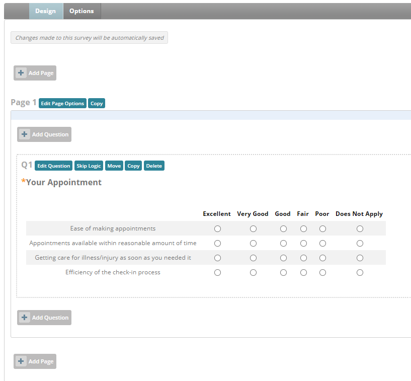Healthcare marketing automation platform screen shot of the survey builder.