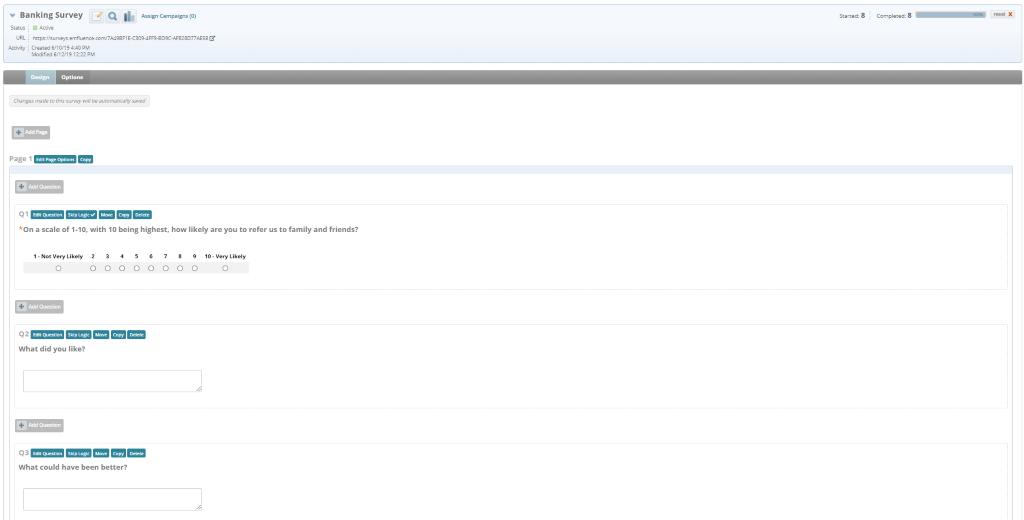 financial services marketing automation platform screen shot of the survey builder